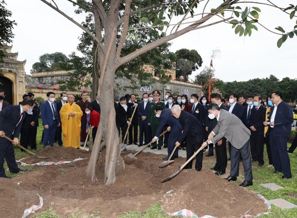 Tổng Bí thư, Chủ tịch nước Nguyễn Phú Trọng trồng cây lưu niệm tại Khu Di tích Hoàng thành Thăng Long. (Ảnh : Trí Dũng/TTXVN)