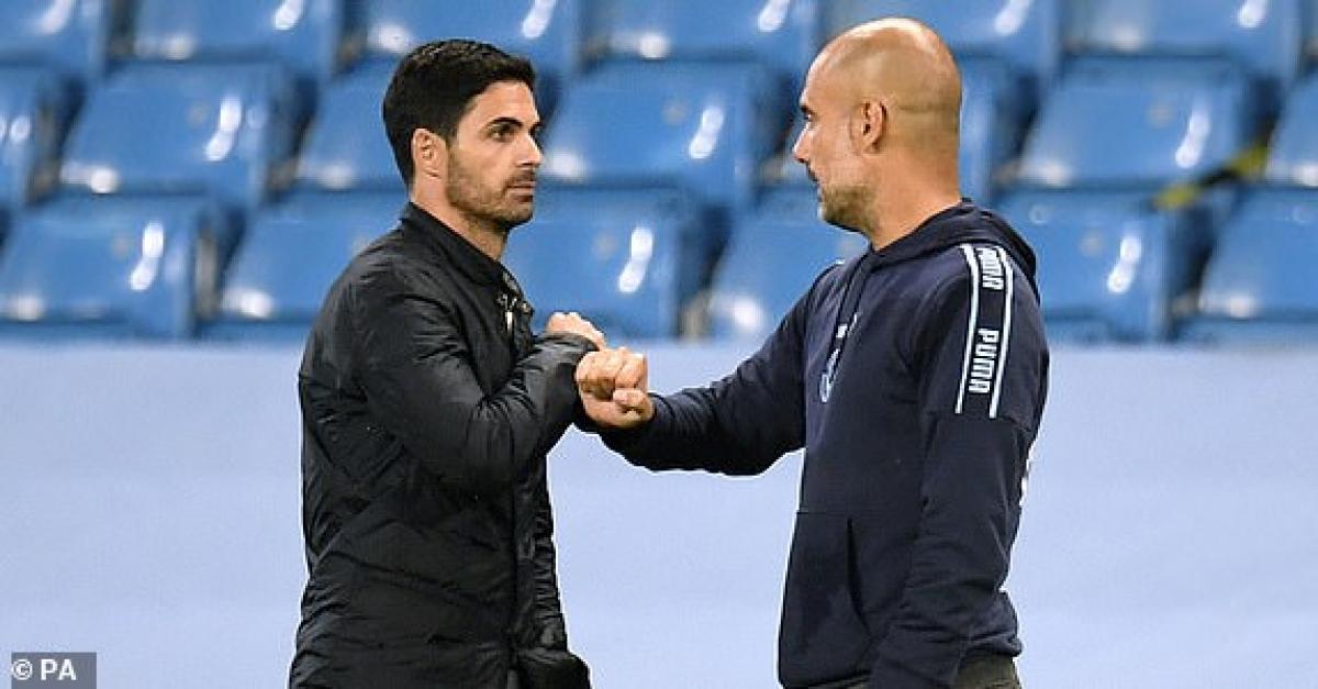 Man City của Pep đang hoàn toàn áp đảo chủ nhà Arsenal của người đồng nghiệp Arteta. (Ảnh: PA).