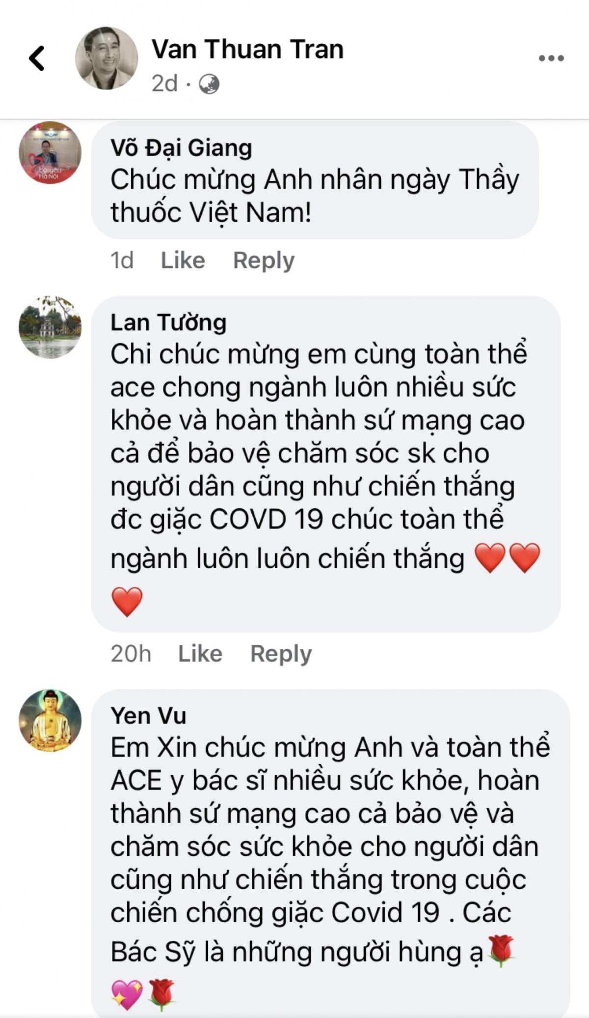Những lời chúc nhân Ngày Thầy thuốc Việt Nam của cộng đồng mạng trên trang Facebook cá nhân của Thứ trưởng Bộ Y tế Trần Văn Thuấn.