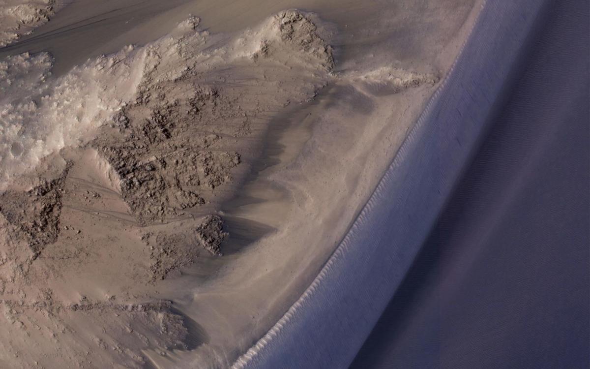 Hình ảnh này cho thấy các dòng chảy theo mùa ở Valles Marineris trên sao Hỏa.