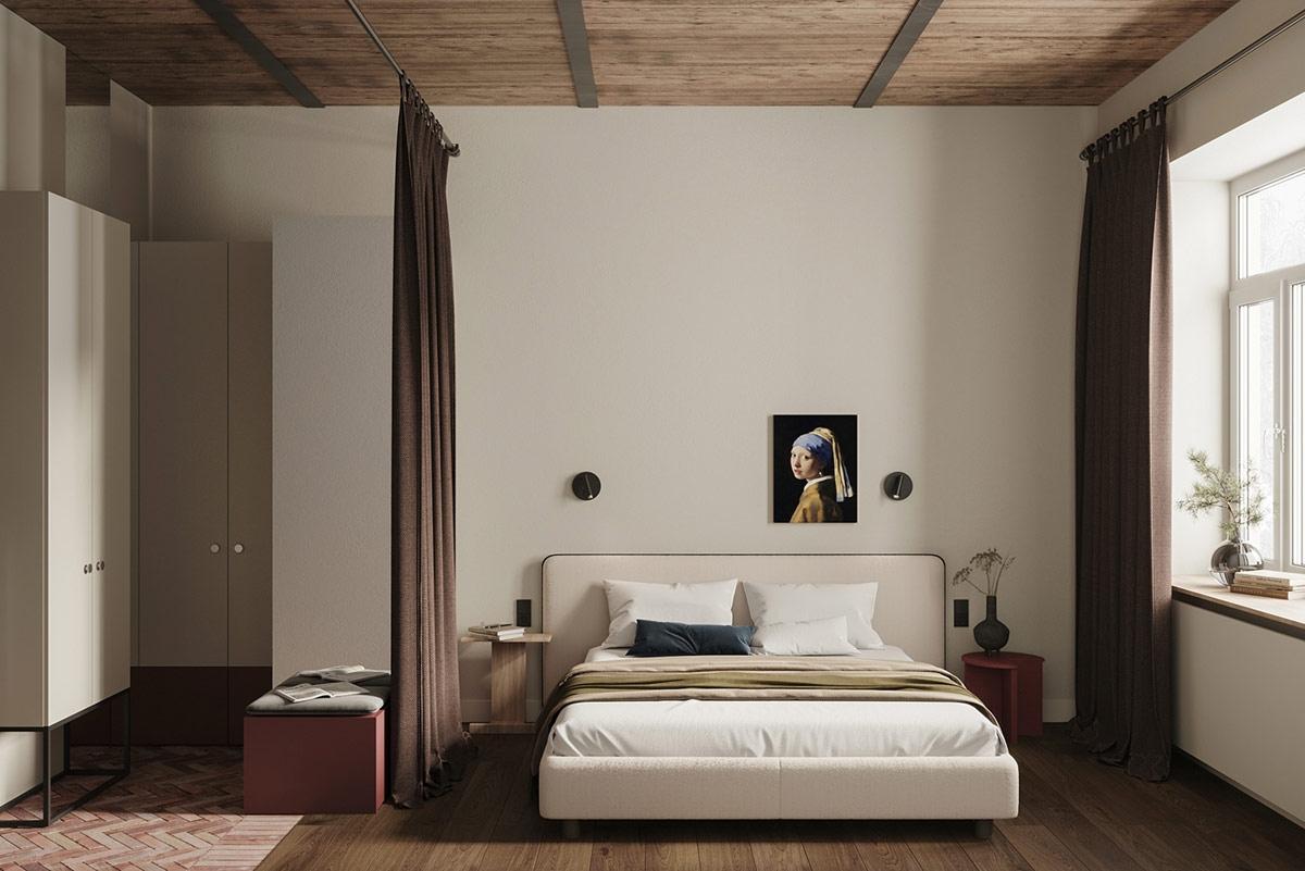 Phòng ngủ được phân chia không gian chỉ bằng tấm rèm vải, tận dụng tối đa diện tích, không gây cảm giác bí khi nhà nhỏ mà có quá nhiều vách tường ngăn.