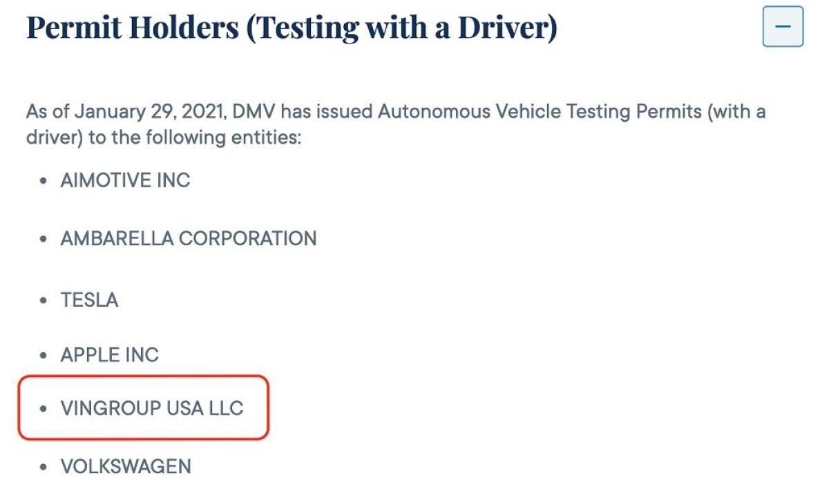 """""""Vingroup USA LLC"""" nằm trong danh sách được cấp Chứng chỉ thử nghiệm xe tự lái vào ngày 29/1/2021."""