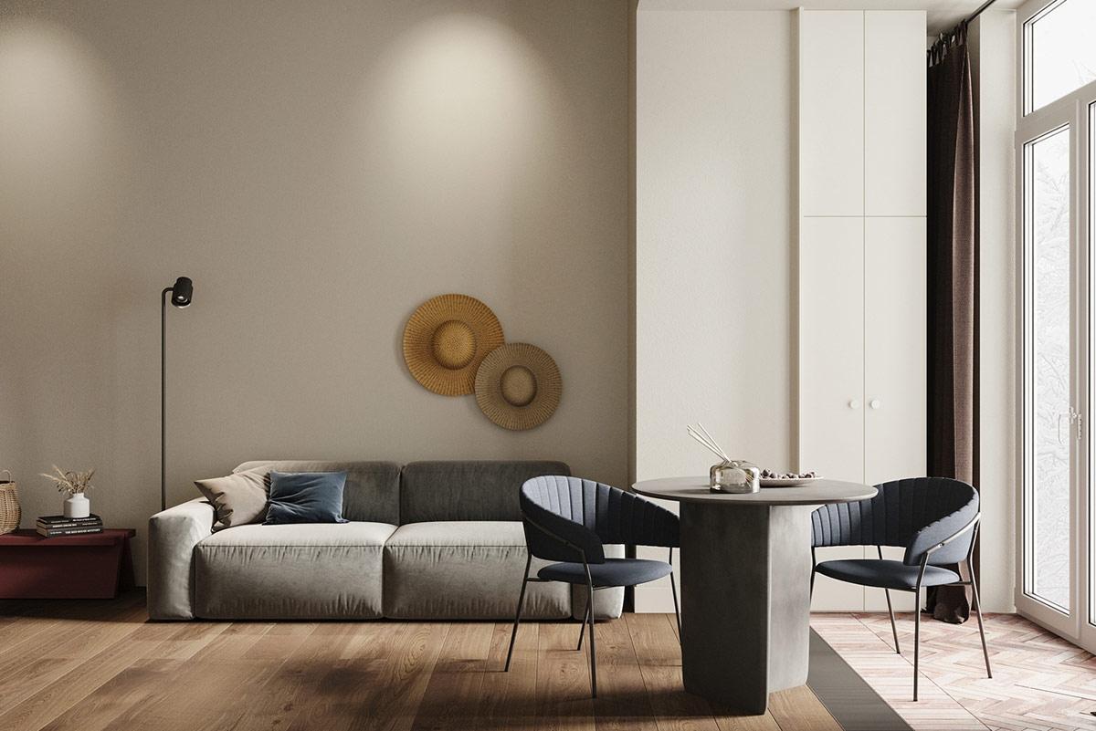 Làm thế nào để thiết kế căn hộ trong mơ với diện tích vỏn vẹn 45m2? Hãy khám phá căn hộ nhỏ xinh tại thủ đô Moscow, Nga xinh đẹp với lối kiến trúc tối giản, tinh tế. Căn hộ đồng nhất với gam màu xám, xanh cổ điển, sàn gỗ mộc mạc tạo cảm giác dễ chịu, thư thái.