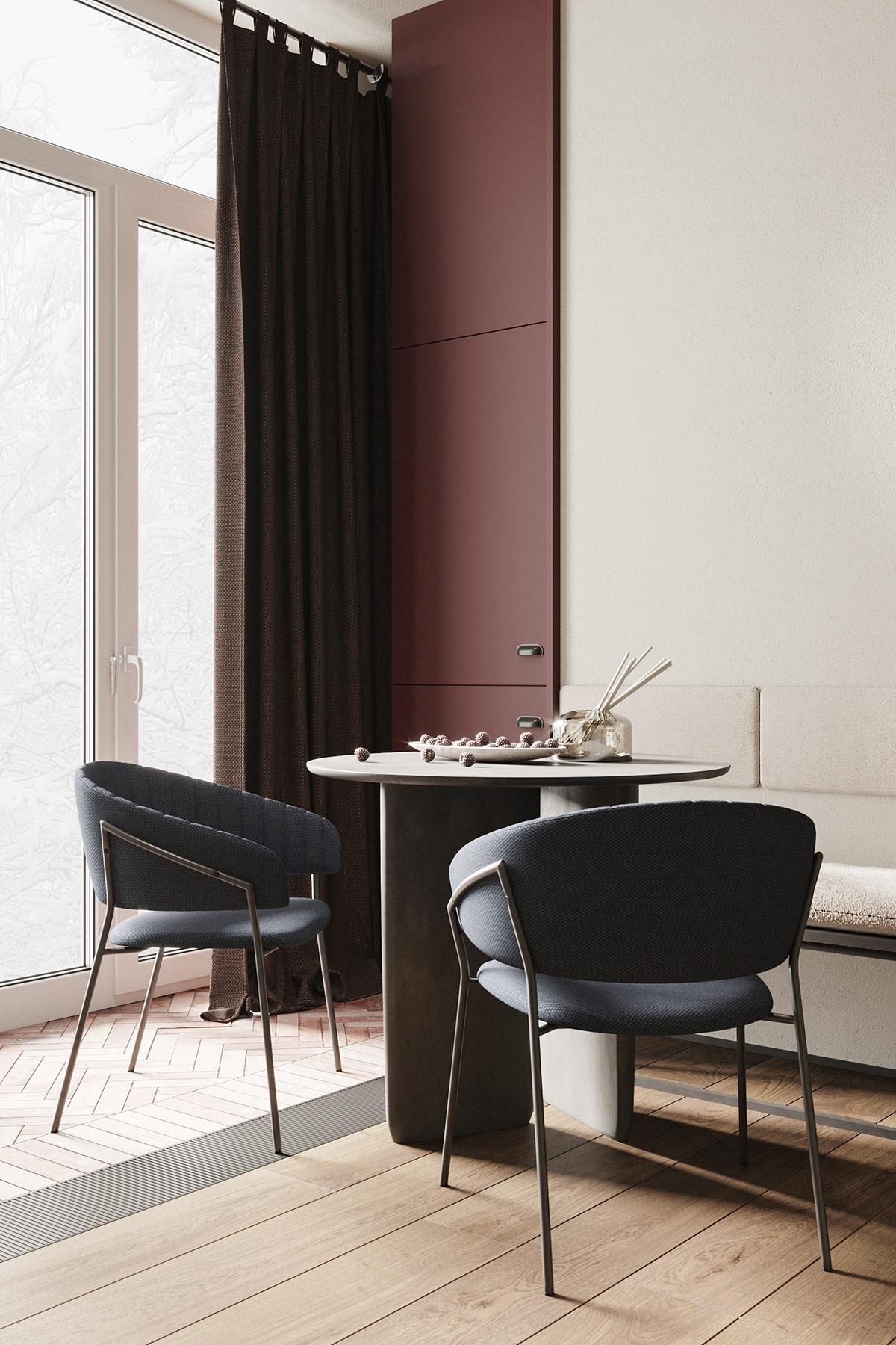 Căn hộ nhấn nhá chút tông màu tím, sàn gỗ với hai kiểu ốp là một ý tưởng trang trí không tồi. Một điều thú vị là trần nhà cũng được ốp bằng ván gỗ mộc mạc để tạo cảm giác về chiều cao rộng rãi của căn phòng.