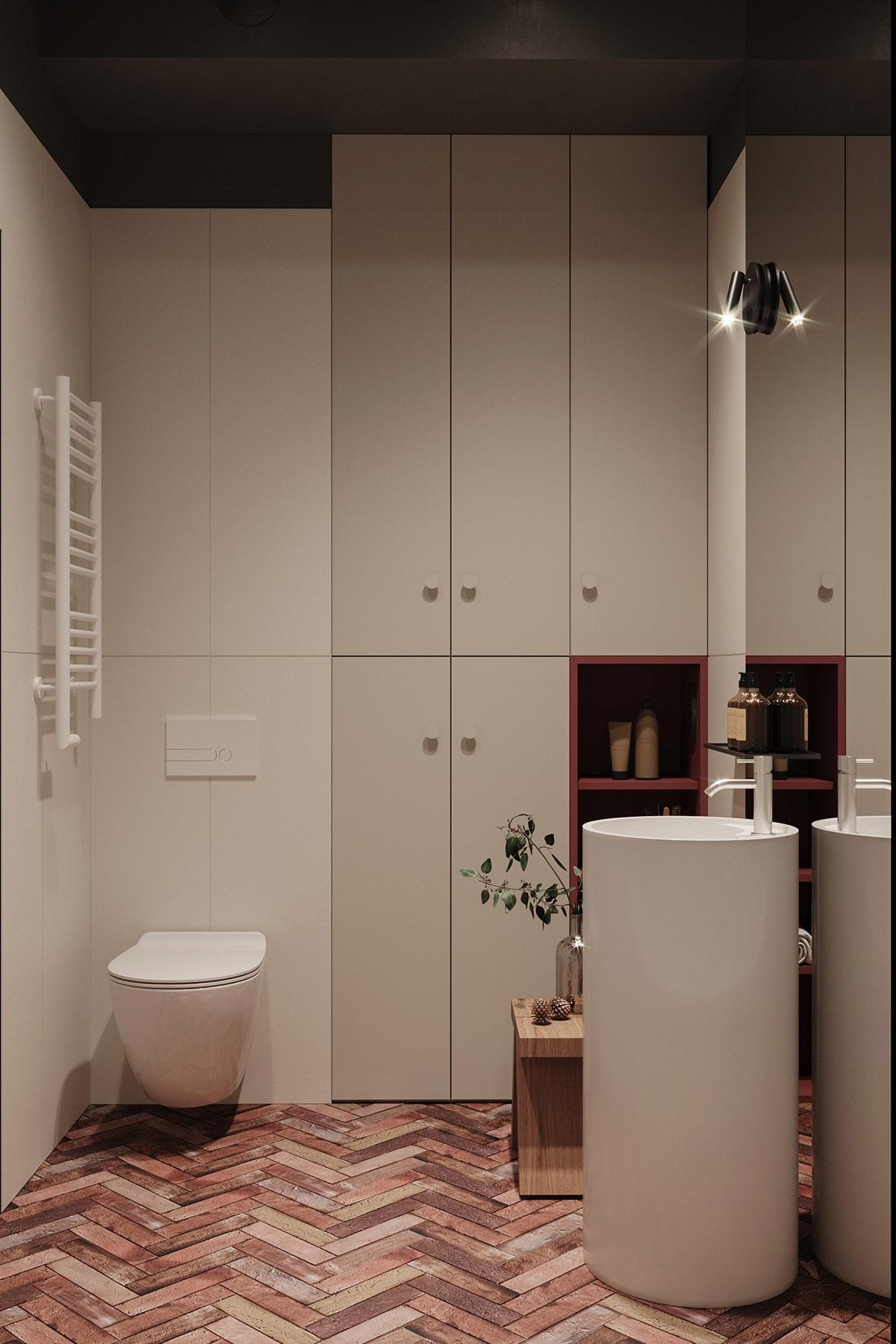 Nhà tắm đẹp như một tác phẩm nghệ thuật với các chi tiết tối giản, xinh xắn./.