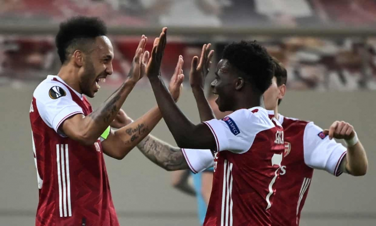 Aubameyang tỏa sáng giúp Arsenal thắng kịch tính Benfica. (Ảnh: Getty)