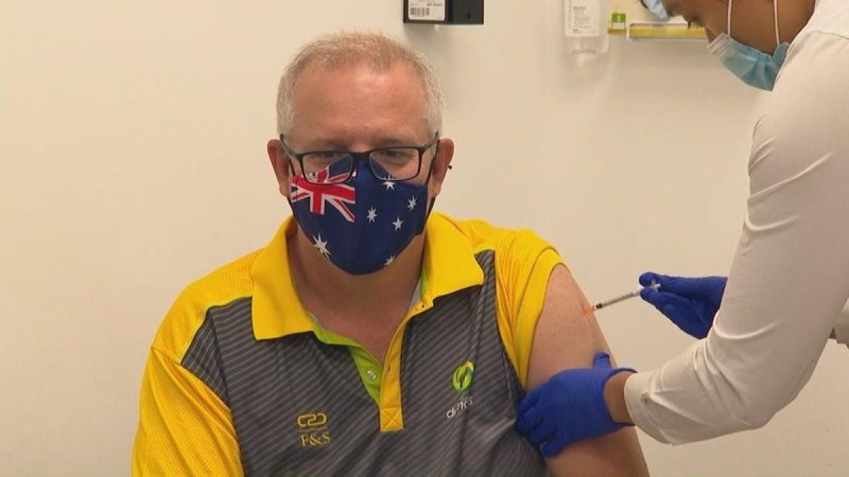 Thủ tướng Scott Morrison là một trong số những người Australia đầu tiên được tiêm vaccine Covid-19 của hãng Pfizer ngày hôm nay (21/2). Ảnh: 9News