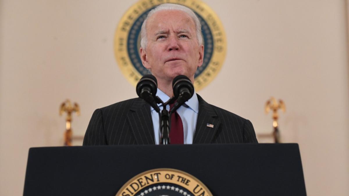 Tổng thống Joe Biden phát biểu ở Nhà Trắng hôm 22/2. Ảnh: Getty