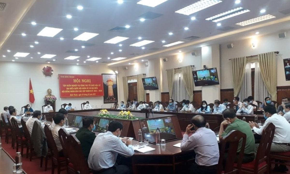 Điểm cầu tại Bình Thuận tham gia Hội nghị trực tuyến về nghiệp vụ công tác bầu cử diễn ra sáng 25/2/2021