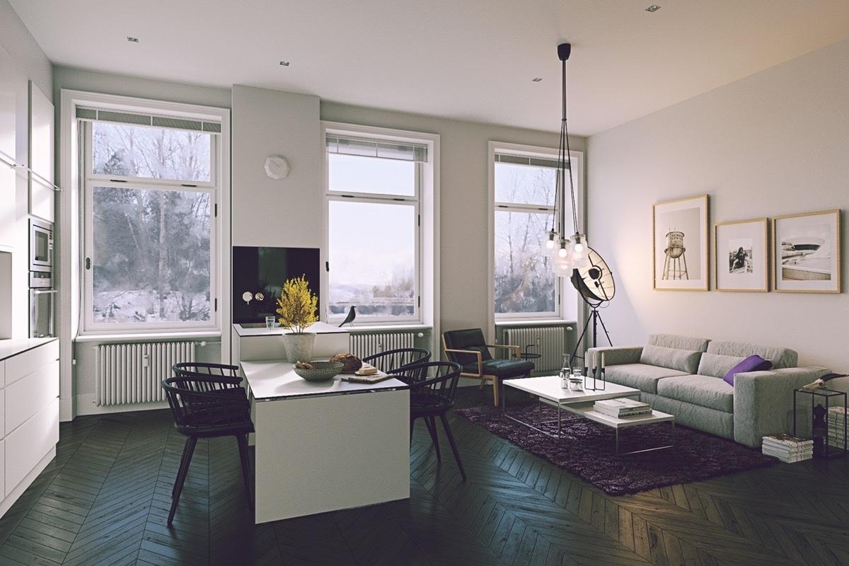 Phòng khách và phòng ăn trong chung cư nhỏ này theo phong cách Scandinavia. Hệ thống chiếu sáng đạt đến đẳng cấp tinh tế, sàn nhà gỗ xương cá, các chi tiết trang trí nội thất tinh tế, cổ điển và sang trọng.