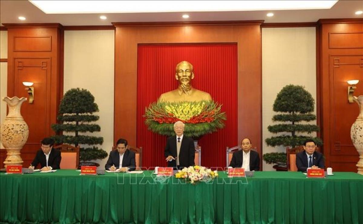 Tổng Bí thư, Chủ tịch nước Nguyễn Phú Trọng phát biểu tại buổi gặp mặt. Ảnh: Trí Dũng/TTXVN