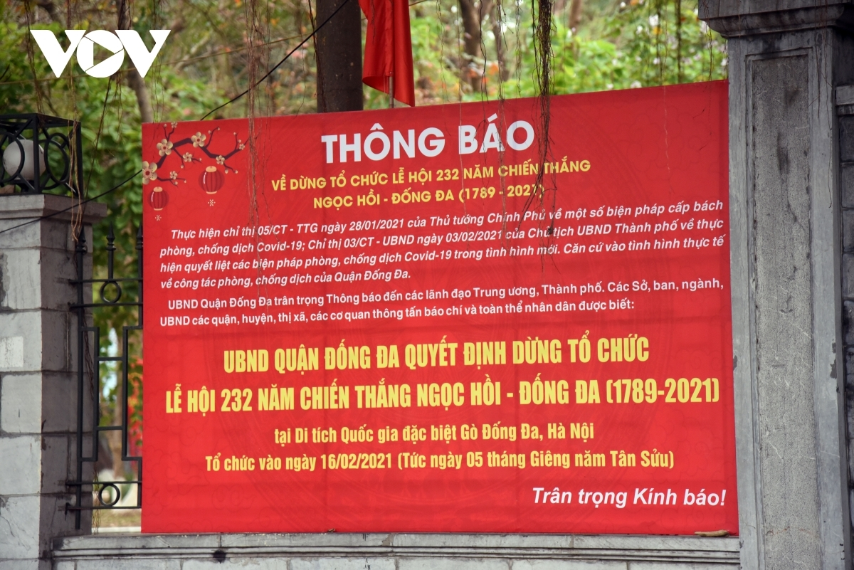 The historical site of Go Dong Da also posts an announcement stating that it will not accept pilgrims and noting plans for spring festivals have been scrapped.
