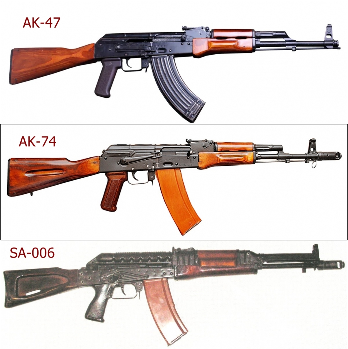 Các loại súng AK-47, AK-74, SA-006. Ảnh: Wikipedia, Modernfirearms, RBTH.