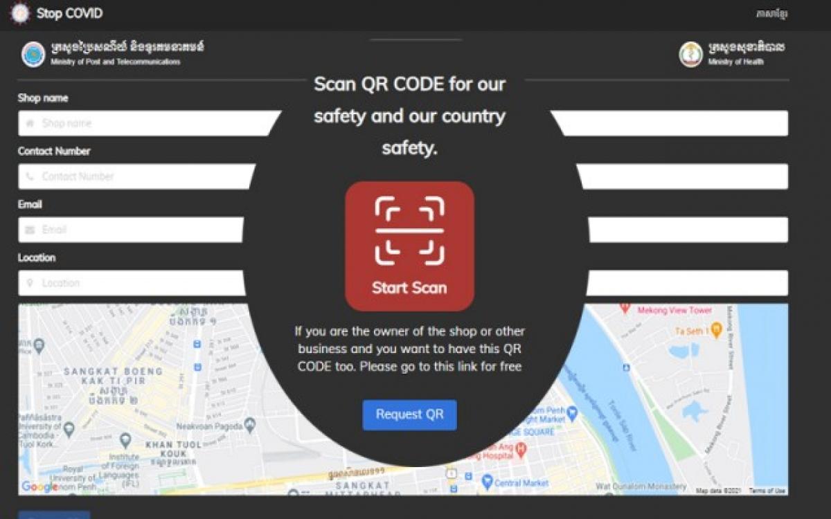 """Hệ thống QR Code """"Stop Covid"""" ( ảnh bộ y tế Campuchia)."""