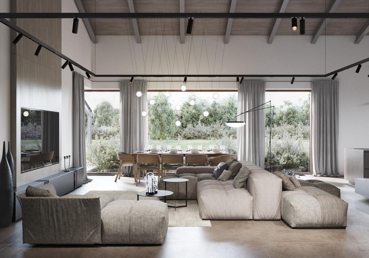 Ngôi nhà sử dụng ánh sáng tràn vào qua cửa sổ lớn, tạo không gian cảm giác thoáng đãng và rộng mở. Bàn ăn được đặt ngay cửa sổ, giúp thuận lợi ăn uống ngoài trời và cả trong nhà./.