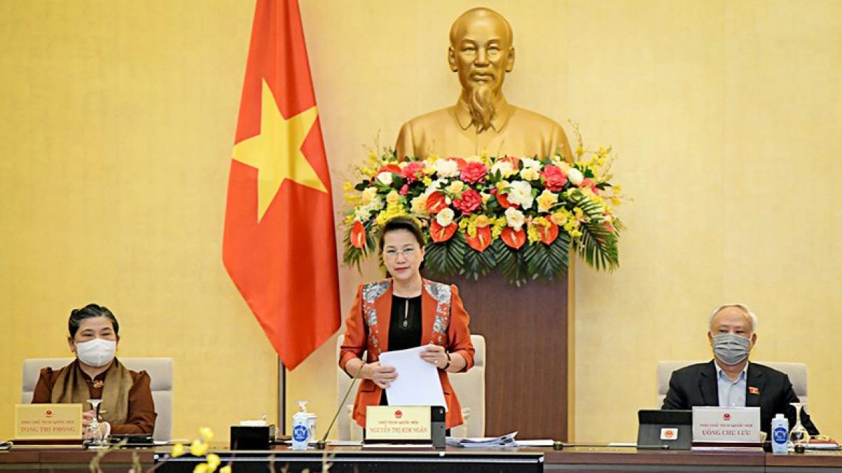 Chủ tịch Quốc hội Nguyễn Thị Kim Ngân phát biểu tại phiên họp 53 Ủy ban Thường vụ Quốc hội. Ảnh: Quốc hội
