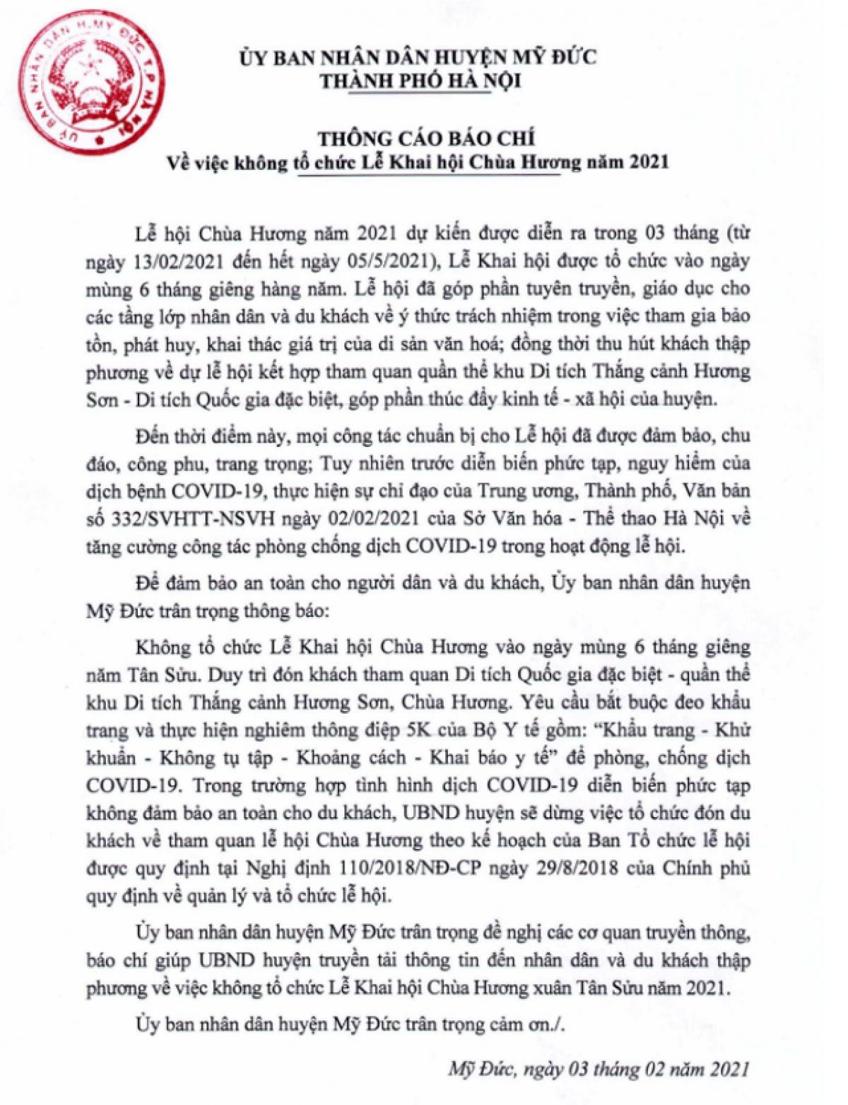 Không tổ chức lễ Khai hội Chùa Hương 2021 ảnh 1
