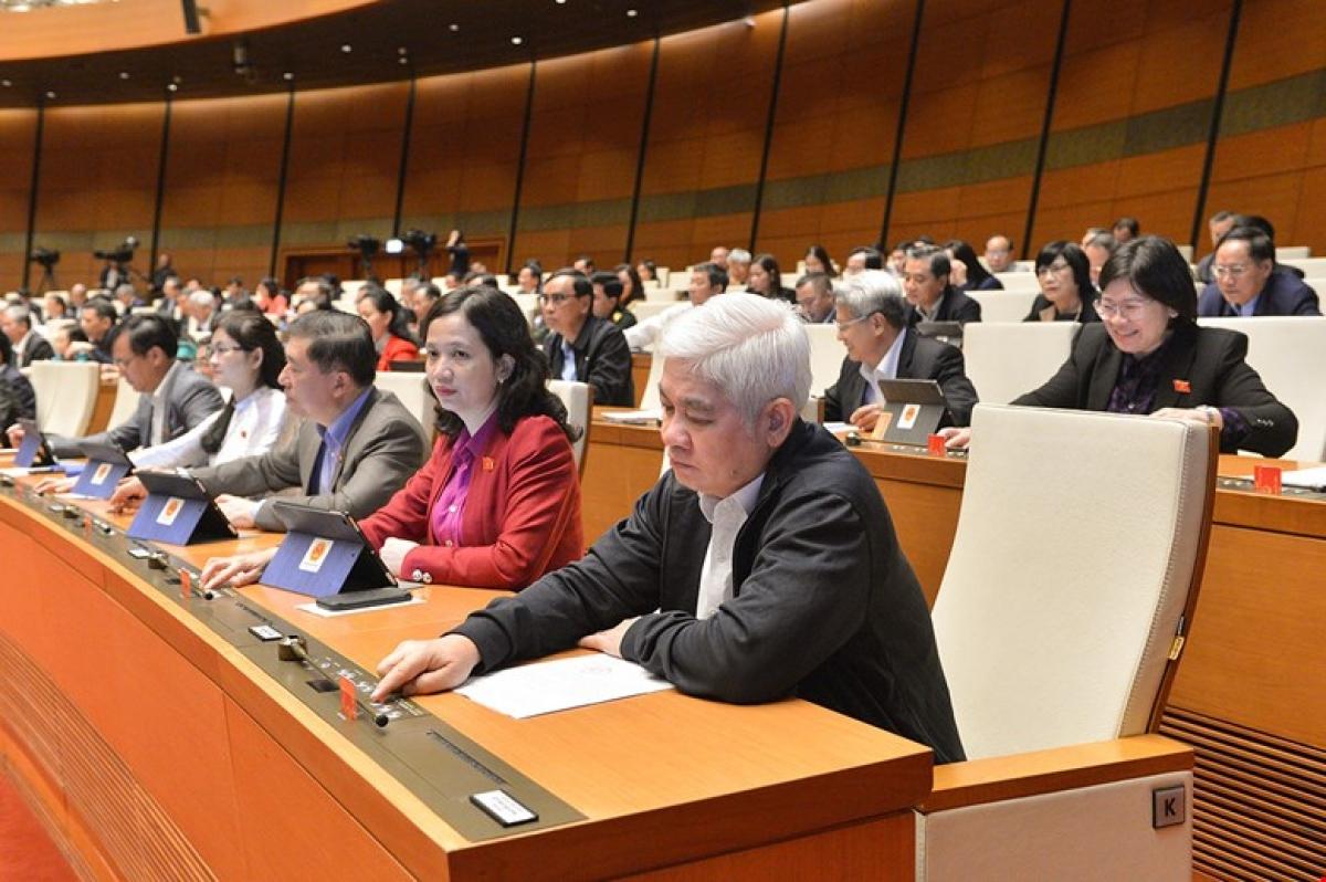 Một buổi làm việc tại Hội trường của đại biểu Quốc hội trong kỳ họp thứ 11 Quốc hội khóa XIV (Ảnh: quochoi.vn)