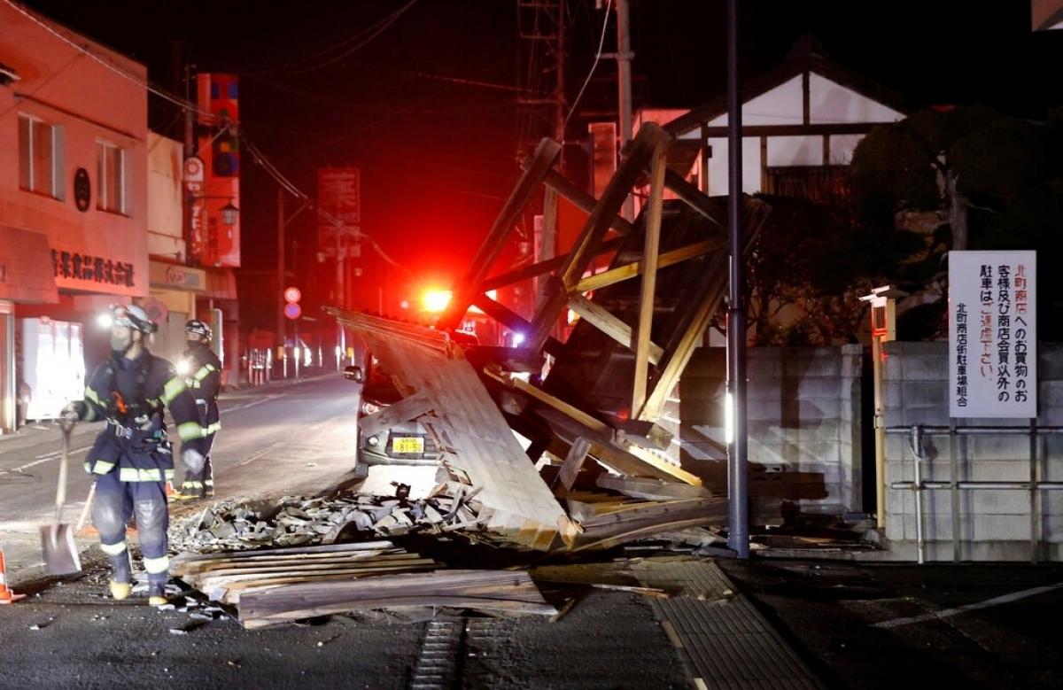 Động đất mạng tại Nhật Bản tối 13/2. Ảnh: Kyodo News