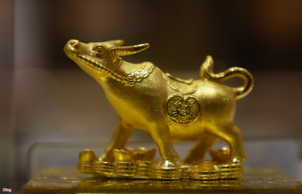 A gold item in the shape of a buffalo is produced by the DOJI Gold and Gems Group in order to celebrate the lunar New Year 2021 – the Year of the Buffalo.