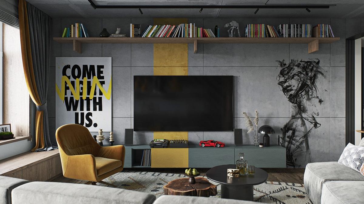 Phong cách trang trí nghiệp giúp các gian phòng có nét đặc trưng gồ ghề, góc cạnh, trong khi đồ nội thất hiện đại gây ấn tượng bởi sự sang trọng, tinh tế.