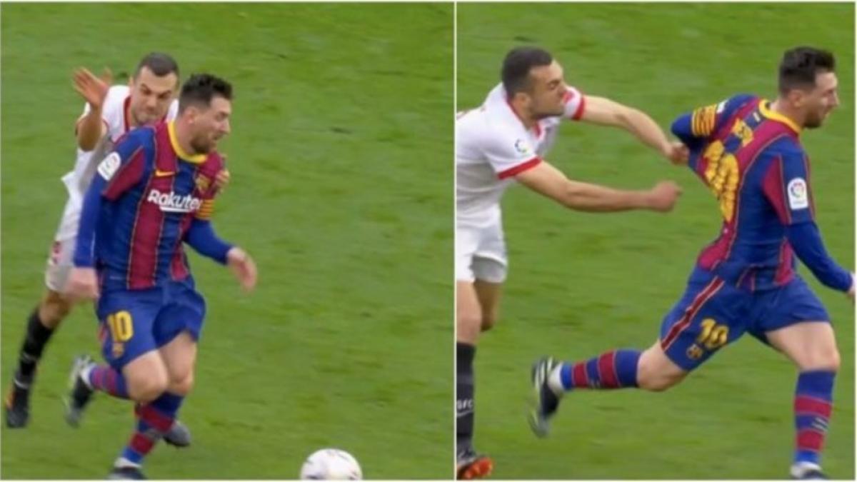 Joan Jordán túm áo Messi không thành công.
