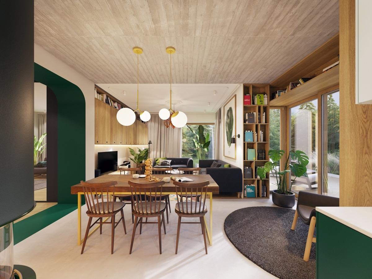 Việc chọn màu xanh tạo cảm giác liền mạch giữa phòng khách, phòng ăn và bếp của căn hộ. Đèn phòng ăn và chân bàn màu vàng ăn ý hoà hợp với tông xanh lá cây.