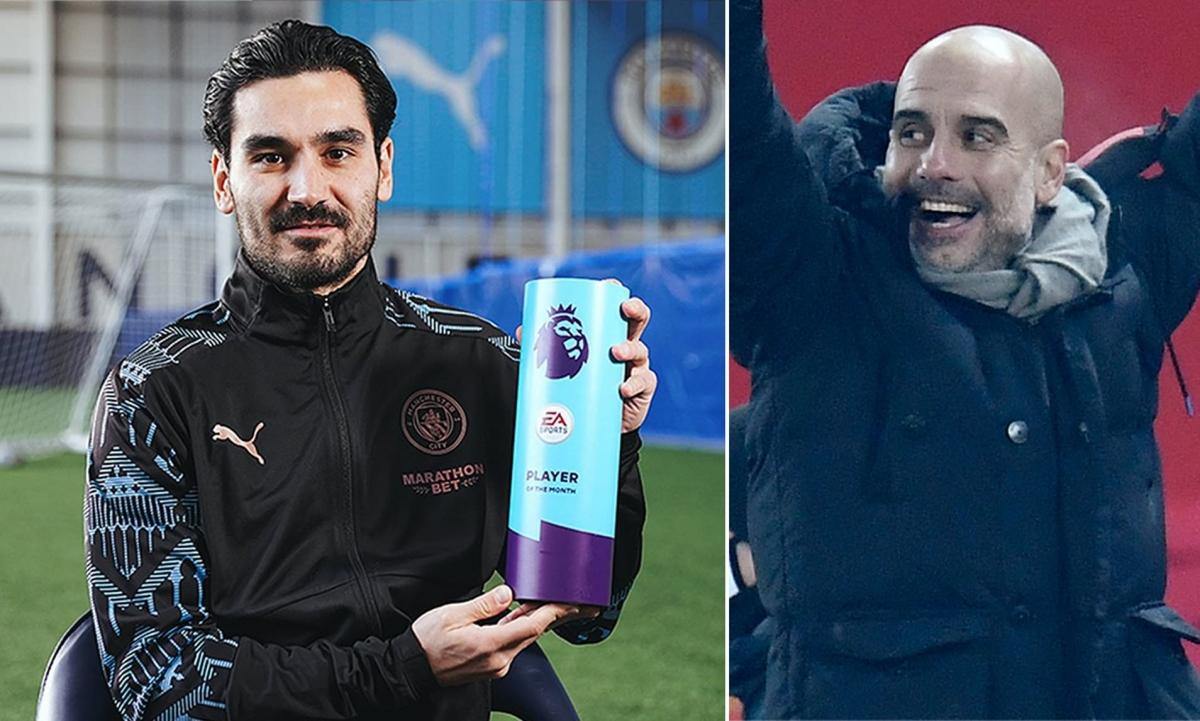 Man City lập cú đúp danh hiệu cá nhân: Ilkay Gundogan là cầu thủ xuất sắc nhất và Pep Guardiola là HLV xuất sắc nhất trong tháng Một ở Premier League. (Ảnh: Daily Mail)