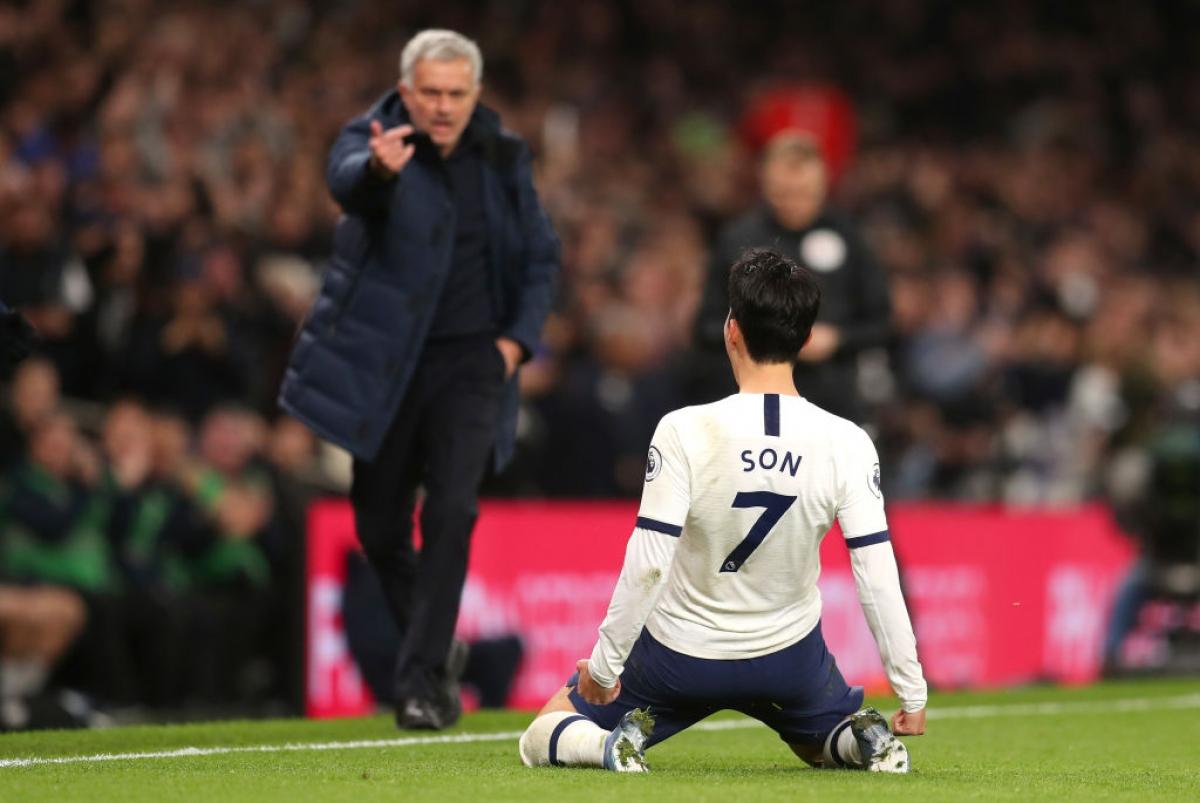 Cái duyên ghi bàn của Son Heung Min giúp Jose Mourinho có 2 thắng lợi liên tiếp trước Man City của Pep Guardiola. (Ảnh: Getty)