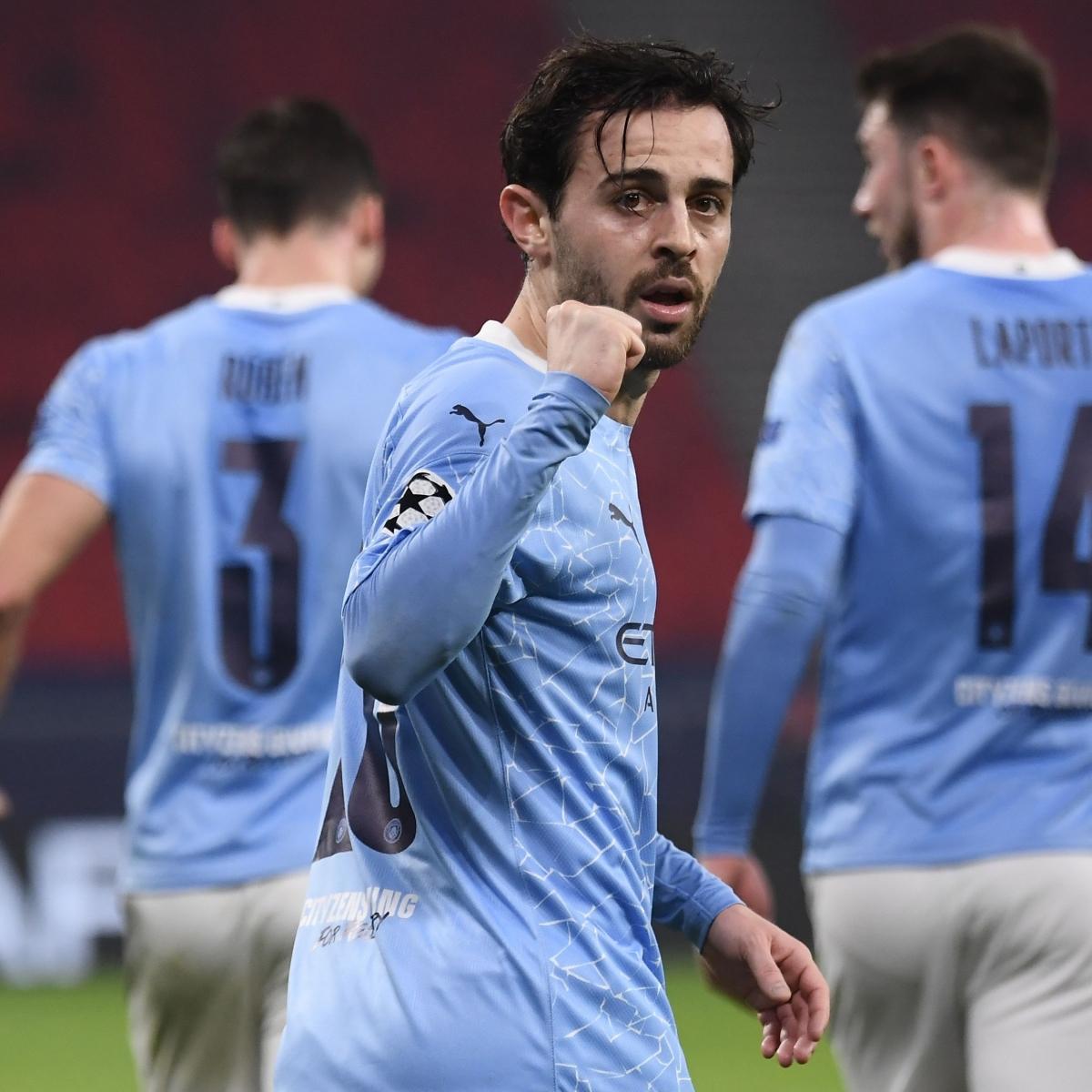 Bernardo Silva ăn mừng bàn mở tỉ số (Ảnh: Getty).