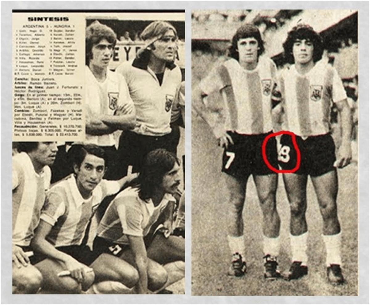 Maradona (số 19) trong lần đầu lên tập trung ĐT Argentina. (Ảnh:AFA).