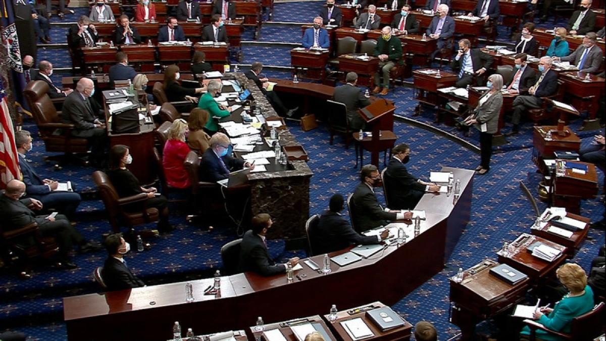 Các nghị sĩ tham gia phiên tòa luận tội cựu Tổng thống Donald Trump tại Thượng viện Mỹ ngày 13/2. Ảnh: Senate TV