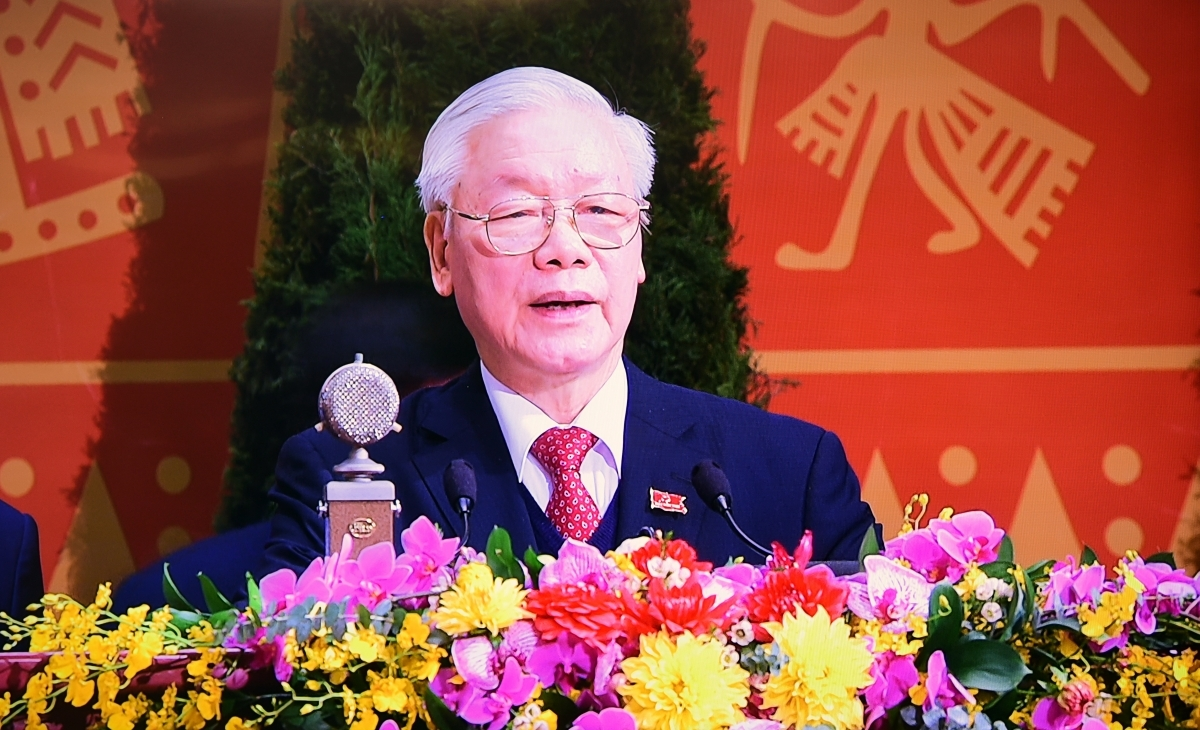 Party General Secretary and State President Nguyen Phu Trong delivers a speech at the closing ceremony of the 13th National Party Congress in Hanoi on February 1.