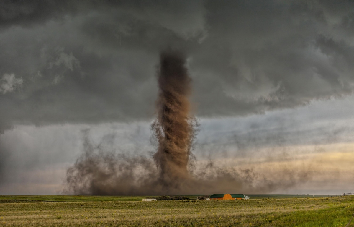 The photo contest receives a total of 25,000 entries from photographers based in 147 countries worldwide. As the best single image in the landscapes and elements category, a photo taken in Colorado, the United States, by Australian James Smart shows a hurricane tearing through the countryside.