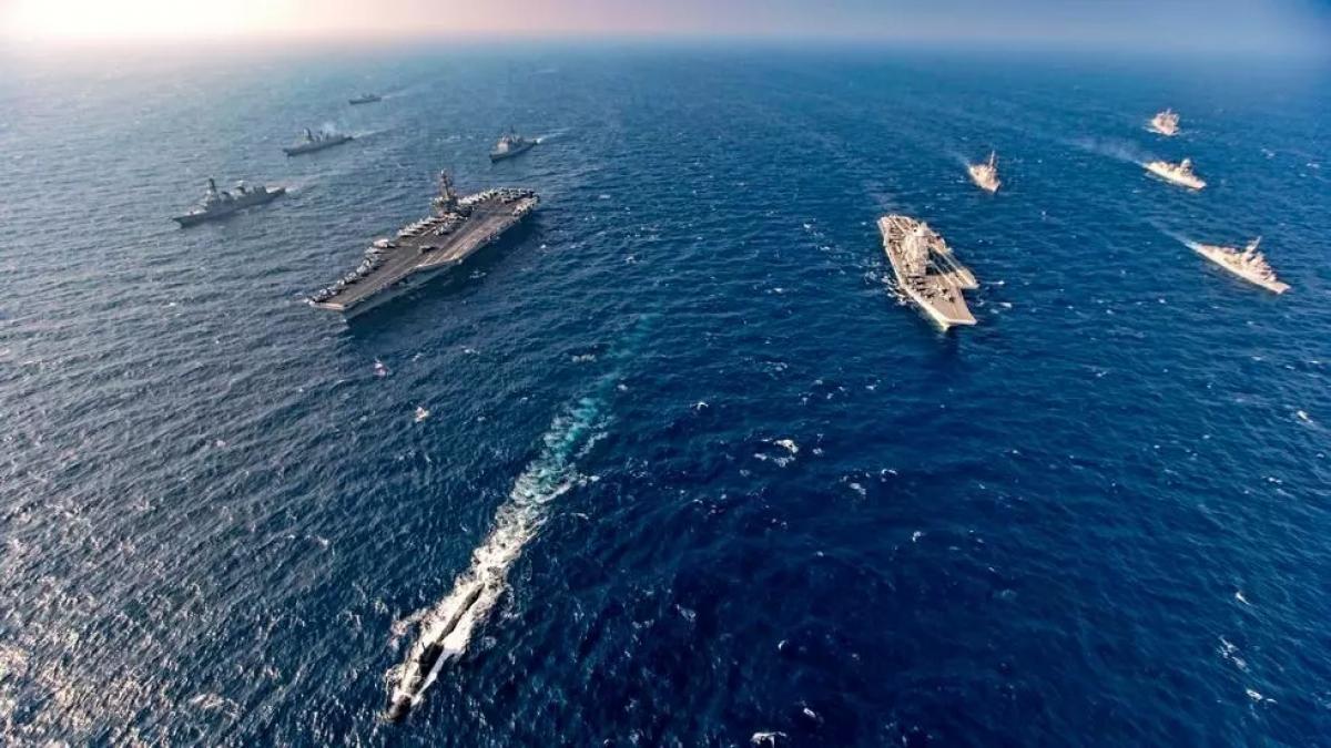Hải quân của các nước thuộc nhóm Bộ Tứ tham gia cuộc tập trận chung Malabar ngày 17/11/2020. Ảnh: AP.