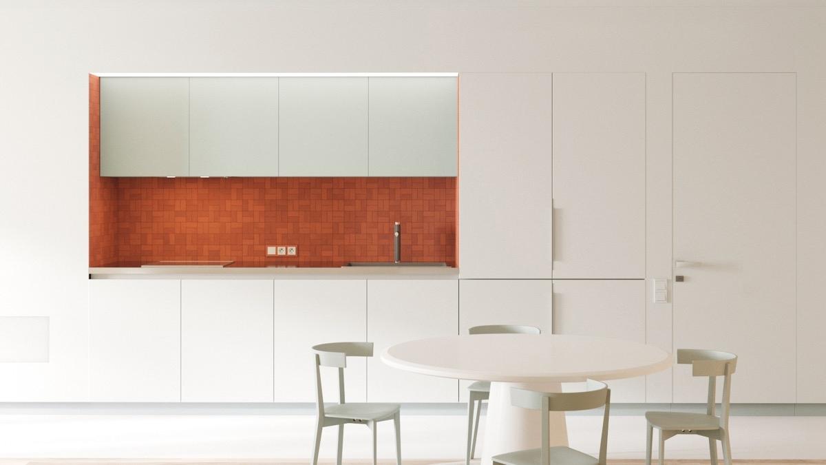 Căn phòng trắng toát tạo điểm nhấn nhờ mảng tường ốp màu đỏ ấn tượng