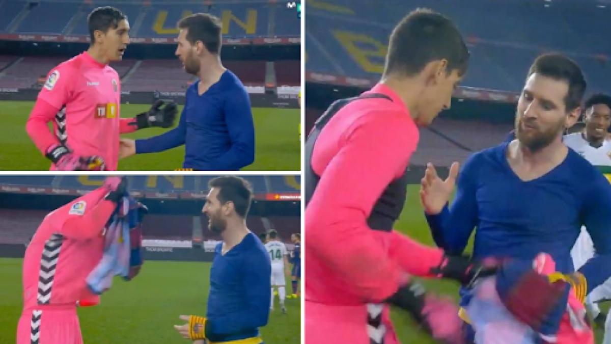 Edgar Badia ngỡ ngàng khi được Lionel Messi đề nghị đổi áo. (Ảnh: The Sun)
