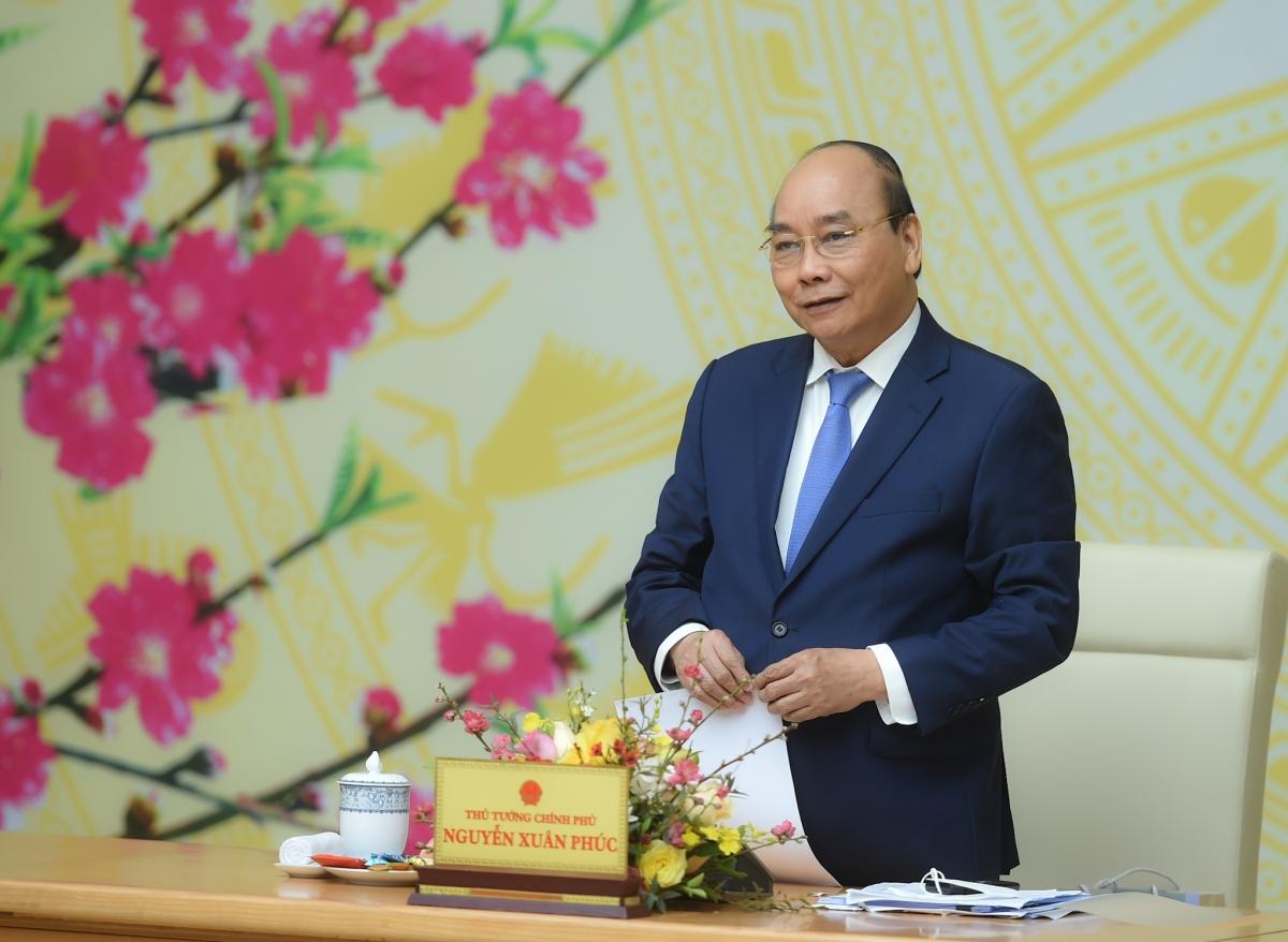Thủ tướng Nguyễn Xuân Phúc phát biểu tại cuộc họp triển khai nhiệm vụ trọng tâm năm 2021 của Văn phòng Chính phủ.
