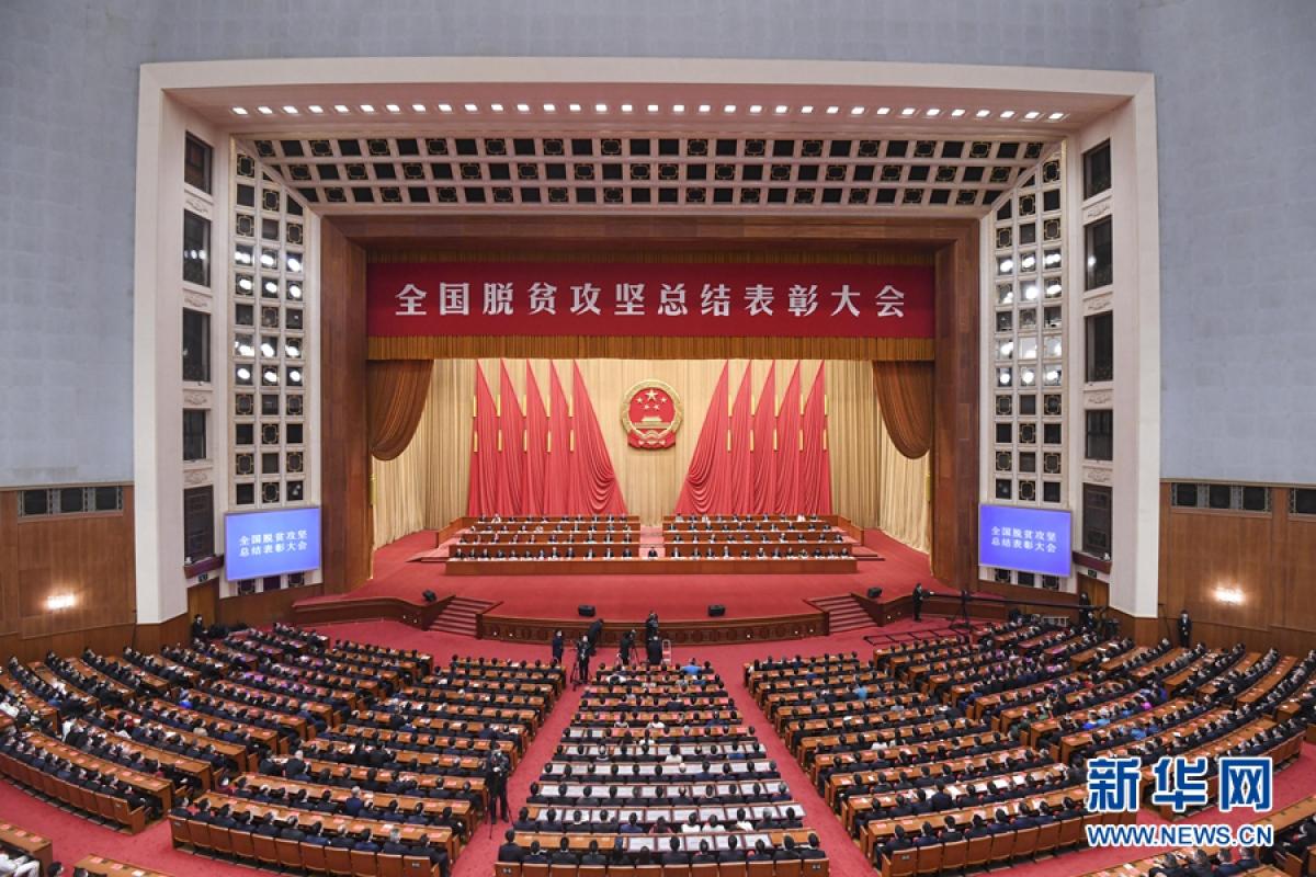 Hội nghị tổng kết biểu dương thoát nghèo của Trung Quốc. Ảnh: Tân Hoa Xã