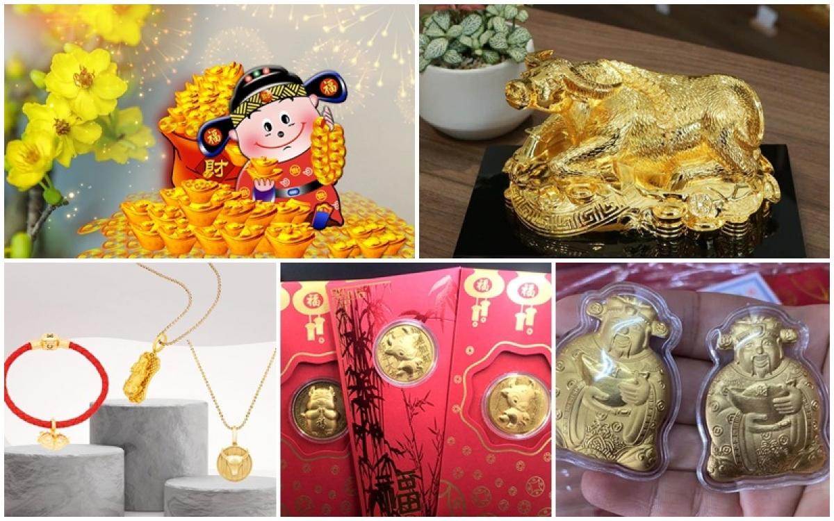 Vào ngày vía Thần Tài (mùng 10 tháng Giêng âm lịch), người dân có tục mua vàng cầu may.