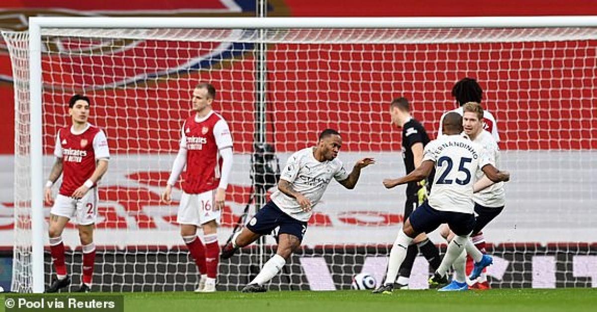 ... đưa Man City vượt lên dẫn trước Arsenal chỉ sau 90 giây bóng lăn ở Emirates. (Ảnh: Reuters).