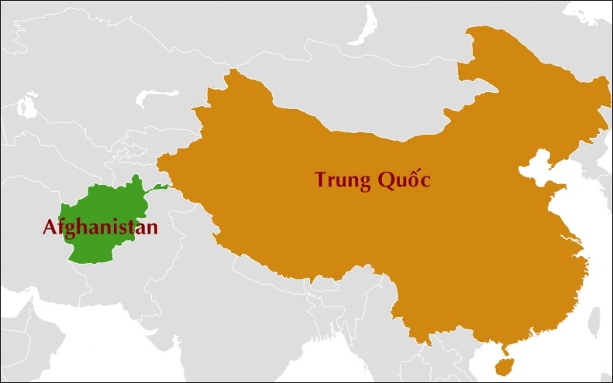 Afghanistan và Trung Quốc trên bản đồ thế giới. Nguồn ảnh: Wikipedia.