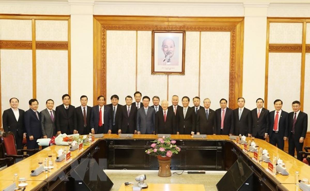 Tổng Bí thư, Chủ tịch nước Nguyễn Phú Trọng và các đại biểu dự buổi lễ. Ảnh: TTXVN.