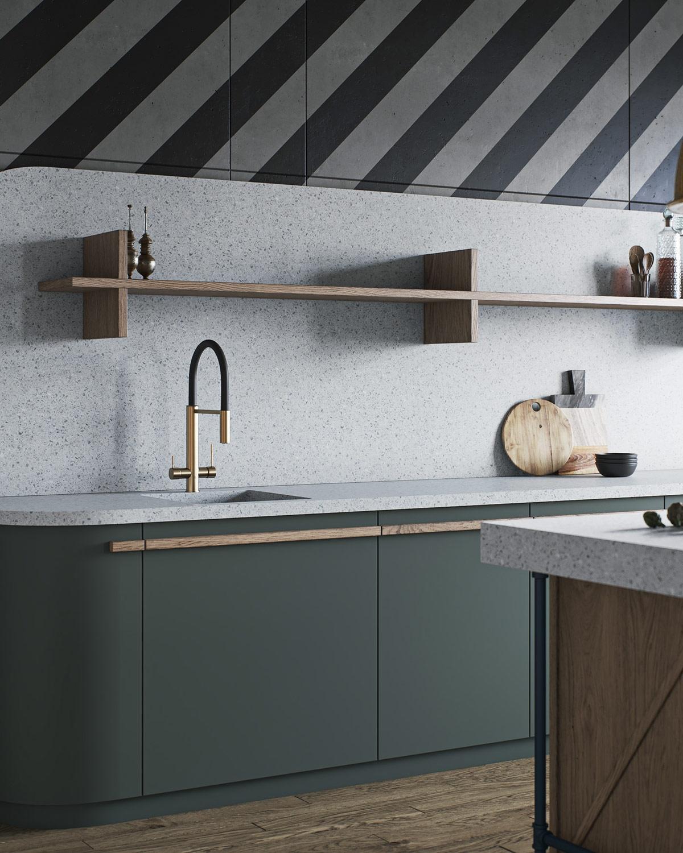 Gian bếp sử dụng những gam màu trung tính, nội thất tối giản phù hợp với nhịp sống hiện đại.