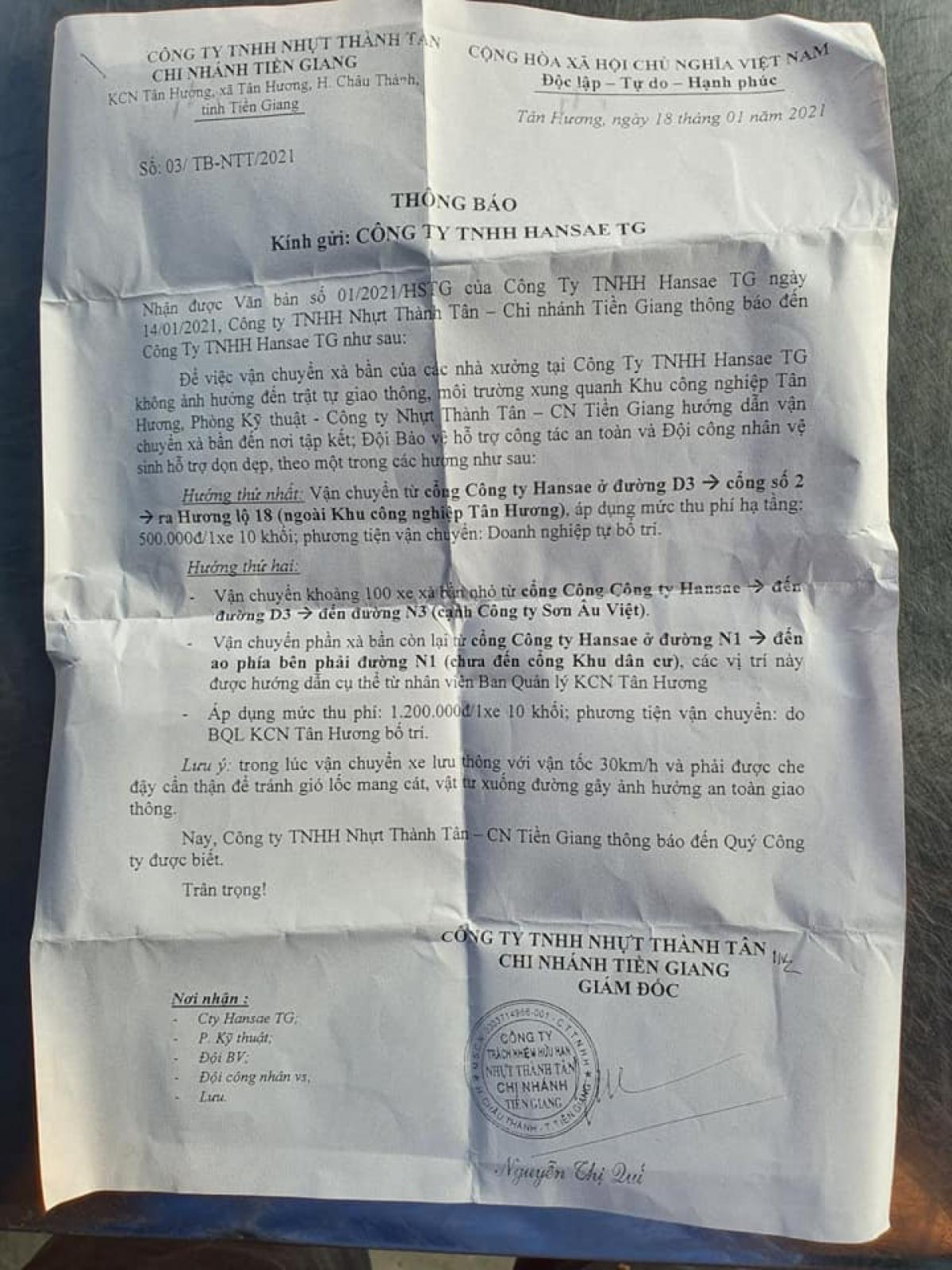 Văn bản của đơn vị quản lý Khu công nghiệp Tân Hương yêu cầu doanh nghiệp đưa phế liệu ra ngoài phải đóng phí gây bức xúc.
