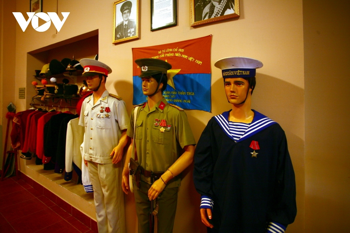 Uniforms worn by the Vietnamese People's Army can also be seen on display.