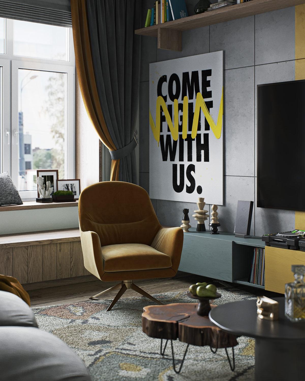 Các điểm nhấn màu vàng tràn đầy năng lượng được sử dụng trên tường, hệ thống đèn chiếu sáng, đồ nội thất...