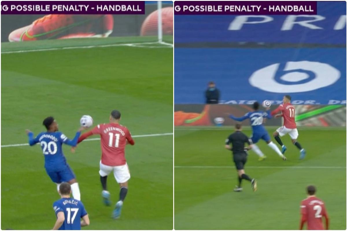 Tình huống gây tranh cãi trong trận đại chiến giữa Chelsea và MU diễn ra ở phút 14.
