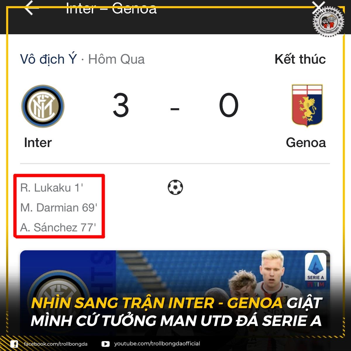Người cũ của MU tỏa sáng ở Inter Milan. (Ảnh: Troll Bóng Đá)