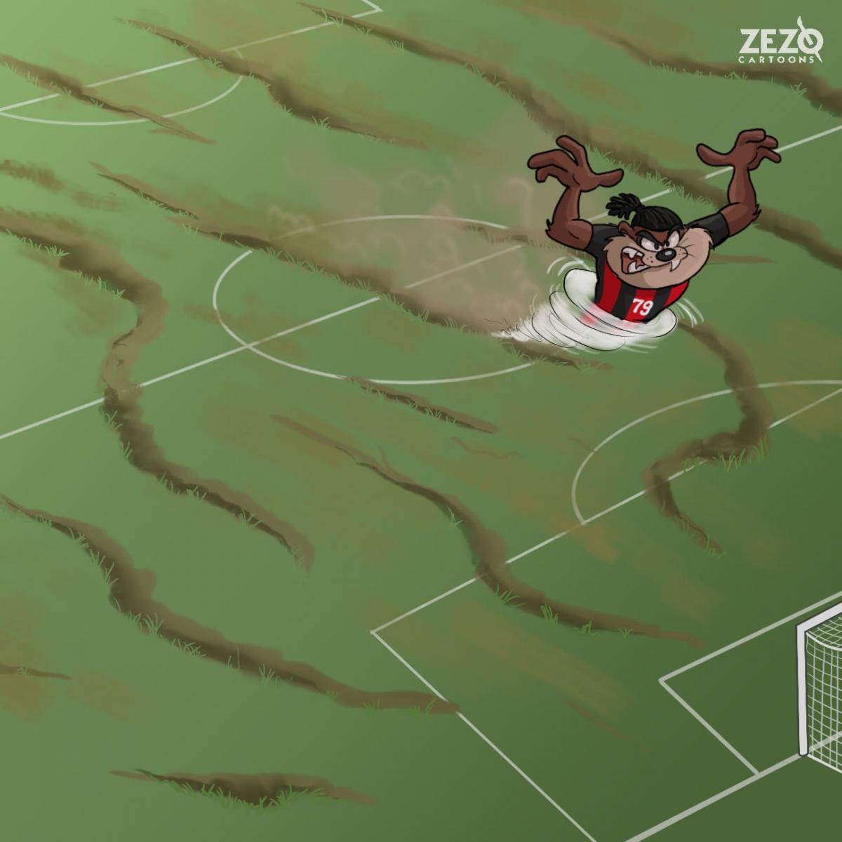 """Máy chạy"" Franck Kessie. (Ảnh: ZEZO Cartoons)"